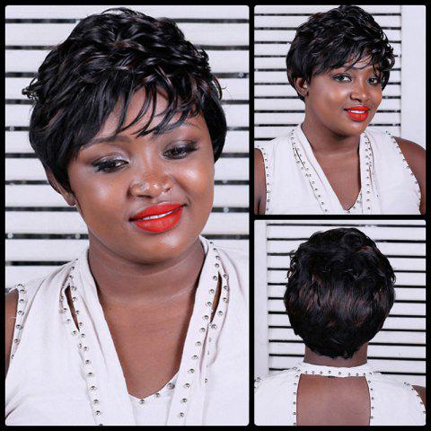 Short Mixcolor Side Bang Curly Synthetic Wig - COLORMIX