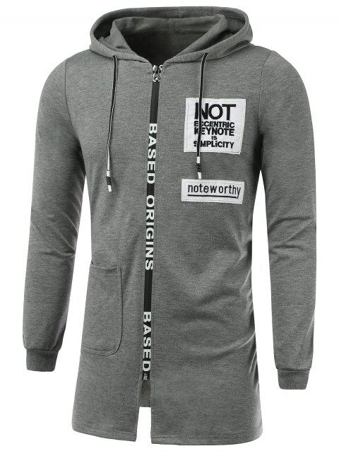 Letter Appliques Lengthen Hooded Zip-Up Hoodie - GRAY XL