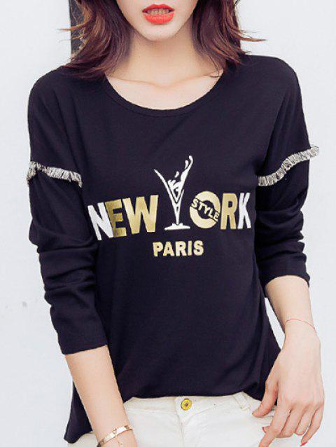 New York Print Fringed T-Shirt - BLACK L