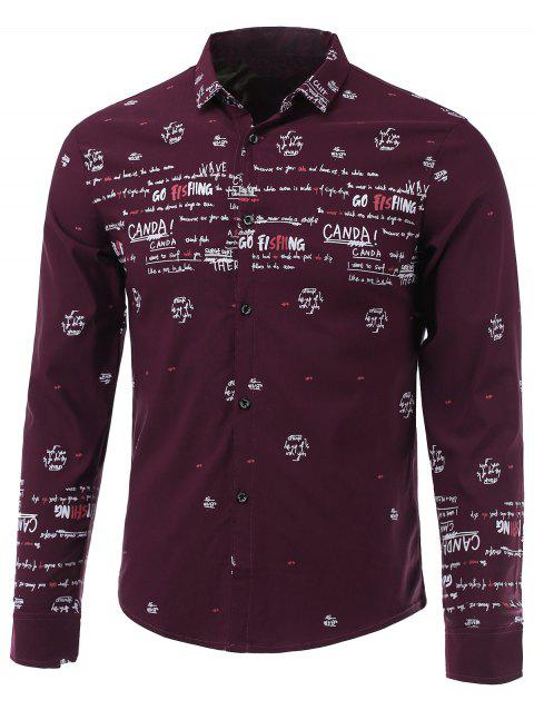 Letters Printed Turn-Down Collar Long Sleeve Shirt - RED L