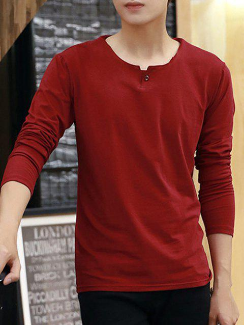Long Sleeve Round Neck Buttoned T-Shirt - RED 2XL