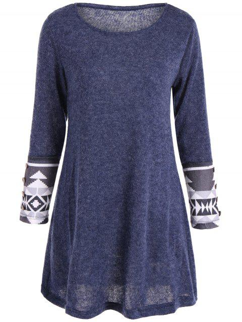Casual Geometric Pattern Long Sleeve Dress - BLUE M