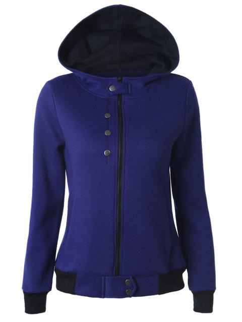 Buttoned Hooded Cottony Jacket - BLUE S