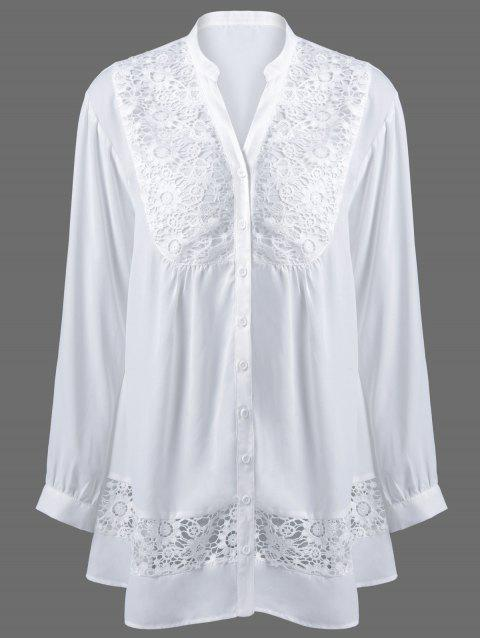 cfce94ed 41% OFF] 2019 Plus Size Lace Trim Button Down Blouse In WHITE XL ...
