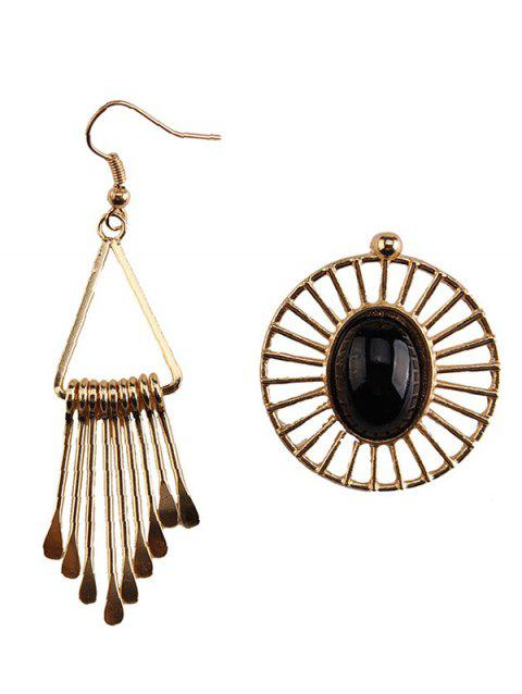 Asymmetry Geometric Water Drop Floral Earrings - BLACK