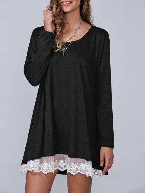 Autumn Lace Lower Hem Casual Dress With Sleeves - BLACK M