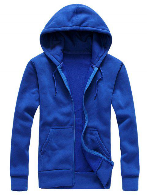 Drawstring Zip Up Plain Hoodie - SAPPHIRE BLUE XL