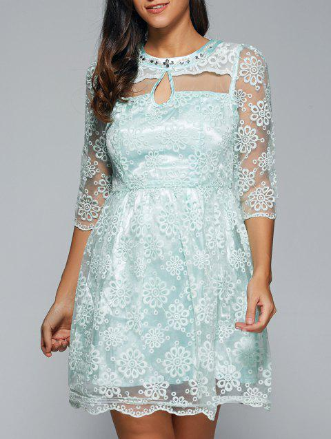 Embroidery See-Through Voile Dress - LIGHT GREEN XL