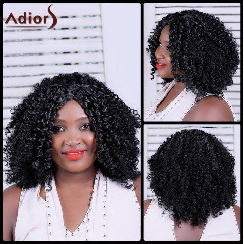 Adiors Centre Parting Long Shaggy Curly Synthetic Wig - BLACK