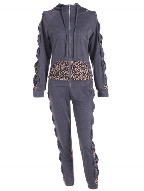 Leopard Printed Pants and Zip Up Hooded Top - DEEP GRAY M