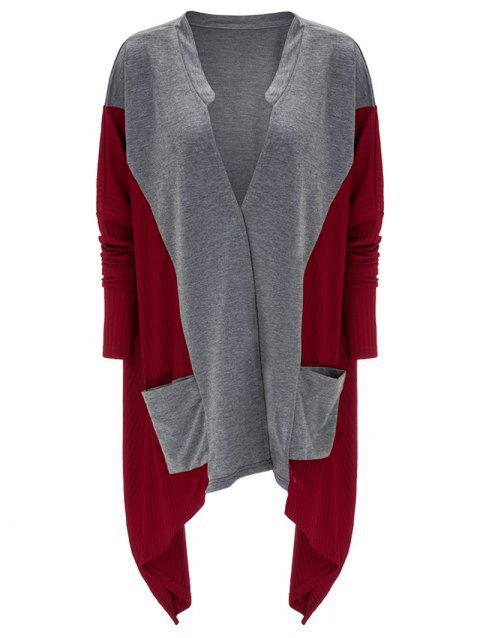 Asymmetrical Pocket Design Patchwork Cardigan - RED XL