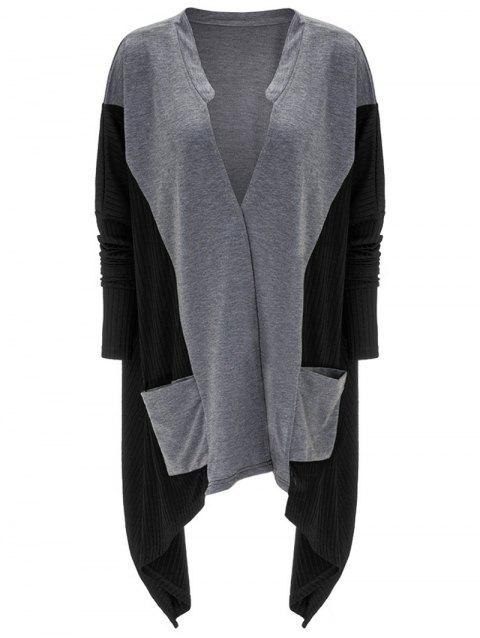 Asymmetrical Pocket Design Patchwork Cardigan - BLACK L