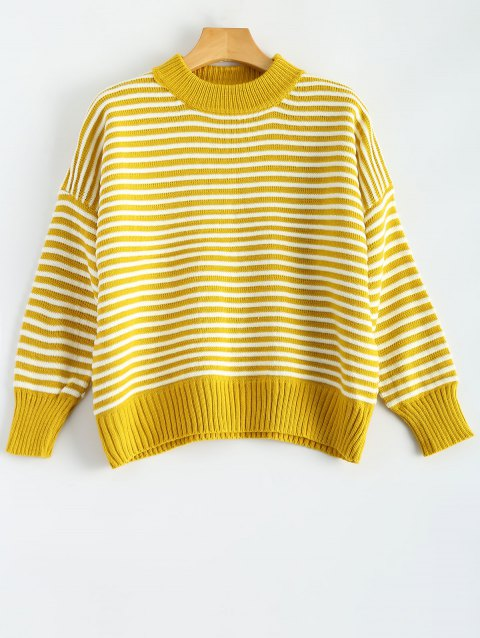 Mock Neck Batwing Sleeve Striped Sweater - YELLOW ONE SIZE