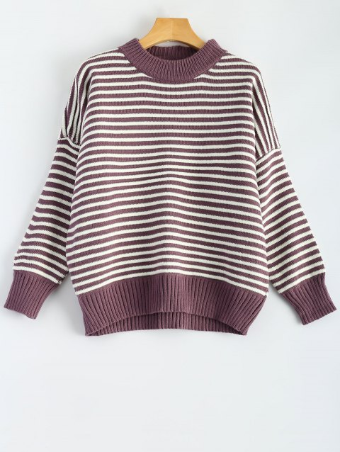 Mock Neck Batwing Sleeve Striped Sweater - PURPLE ONE SIZE
