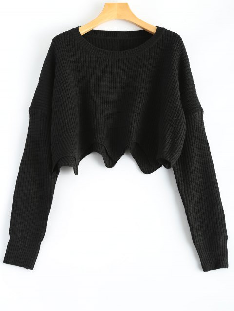 Round Neck Scalloped Pullover Sweater - BLACK ONE SIZE