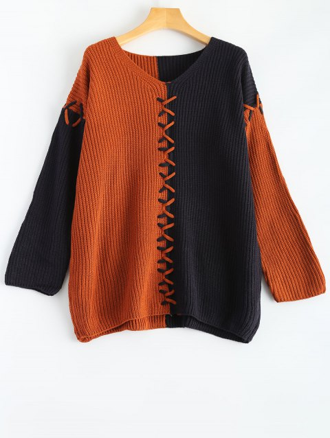 V Neck Color Block Oversized Sweater - ORANGE ONE SIZE