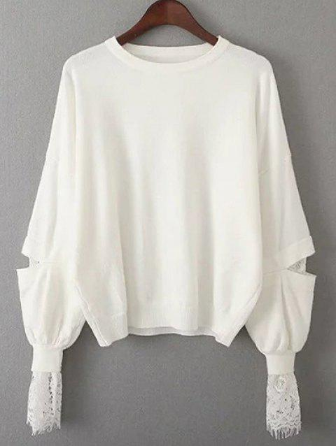 Lantern Sleeve Lace Spliced Loose Sweater - WHITE ONE SIZE