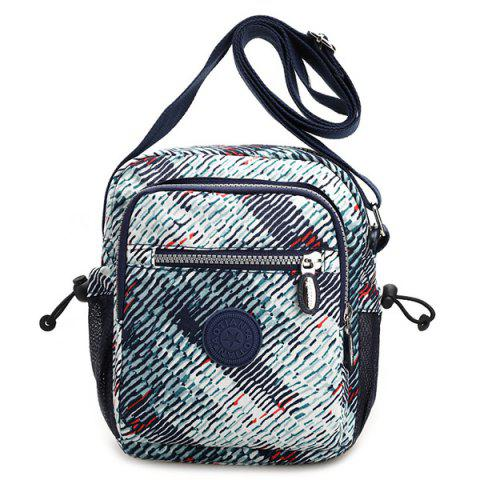 Zippers Color Splicing Striped Print Crossbody Bag - PALE GREEN
