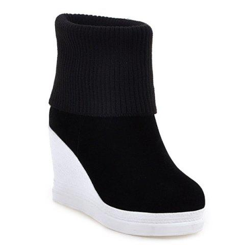 Wedge Fold Over Knit Sweater Ankle Boots - BLACK 39