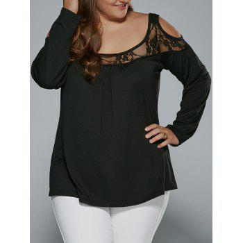 Long Sleeve Lace Patchwork Cold Shoulder T-Shirt - BLACK 4XL