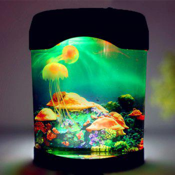 MultiColor Atmosphere LED Sea World Swimming Jellyfish Lamp Night Light - COLORMIX