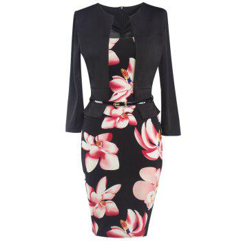 Faux Two Piece Floral Belted Dress
