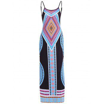 Side Slit Geometric Print Backless Dress