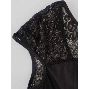 Swing Lace Back-V Hidden Zip Dress - BLACK 2XL