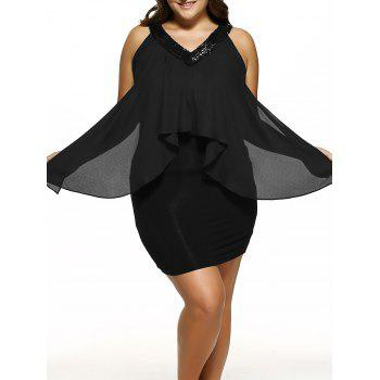 Plus Size Sequined Neck Overlay Dress