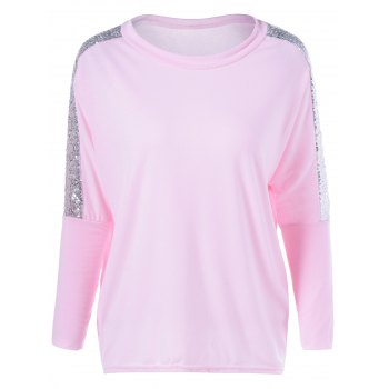 Sequin Jewel Neck Long Sleeve T-Shirt