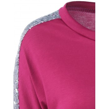 Sequin Jewel Neck Long Sleeve T-Shirt - ROSE RED S