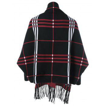 Plaid Fringed Asymmetrical Cape - BLACK ONE SIZE