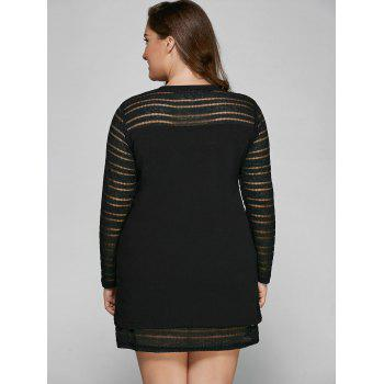 Hollow Out Spliced Plus Size Mini Dress - BLACK 2XL