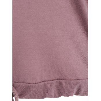 Off The Shoulder Letter Loose T-Shirt - PURPLE M