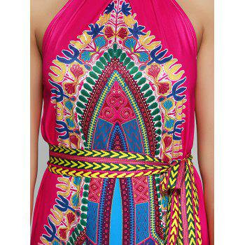 Tied Belt African Style Tribal Maxi Dress - COLORMIX M
