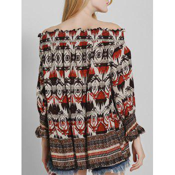 Off The Shoulder Vintage Printed Blouse - RED XL