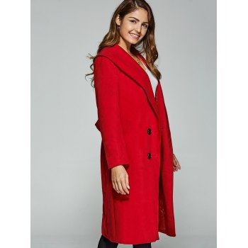 Double-Breasted Woolen Overcoat - RED L
