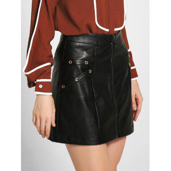 Zippered PU Leather A-Line Skirt - BLACK L