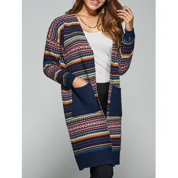 Pockets Ethnic Style Printed Cardigan