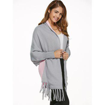 Double Side Tassels Cape Cardigan - GRAY ONE SIZE