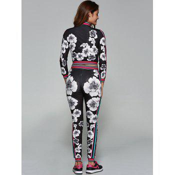 Flower Pattern Cropped Sports Suit - BLACK L