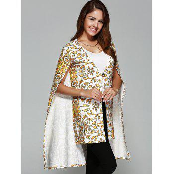 Asymmetric Tribal Print Cape Coat - WHITE / GOLD S