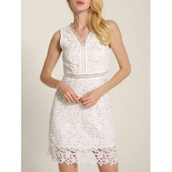 Cut Out V Neck Lace A-Line Summer Wedding Dress