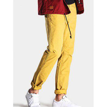 Straight Leg Mid-Rise Zipper Fly Casual Pants - YELLOW 32