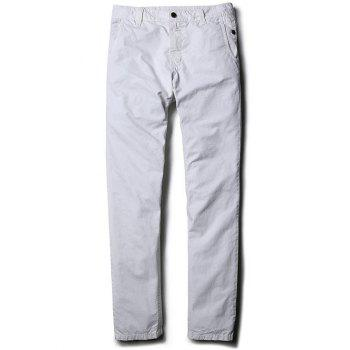 Straight Leg Mid-Rise Zipper Fly Casual Pants - WHITE 32