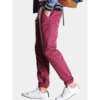 Straight Leg Mid-Rise Zipper Fly Casual Pants