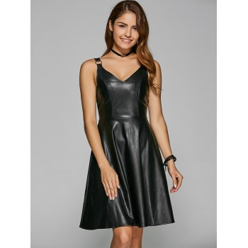 Straps PU A-Line Dress - BLACK S