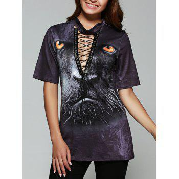Leopard Print Lace-Up T-Shirt