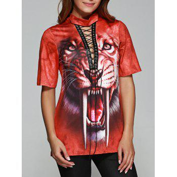 Tiger Print Front Lace Up Halloween T-Shirt
