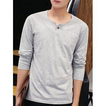 Long Sleeve Round Neck Buttoned T-Shirt